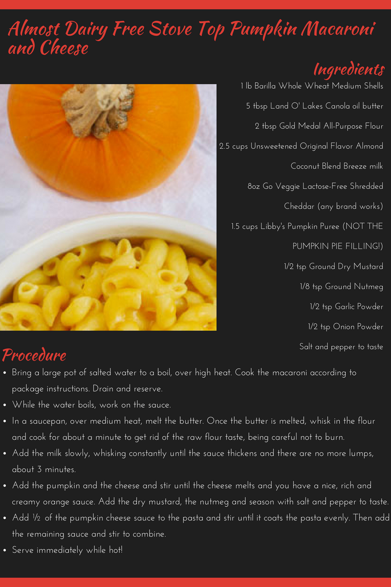 Almost Dairy Free Stove Top Pumpkin Macaroni and Cheese