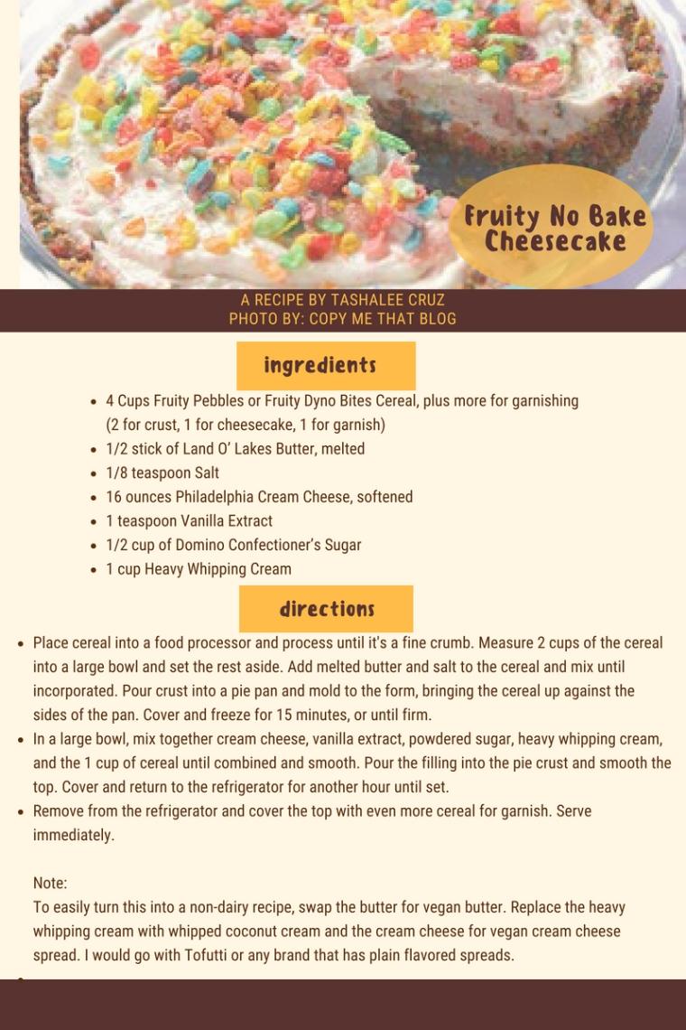 Fruity No Bake Cheesecake
