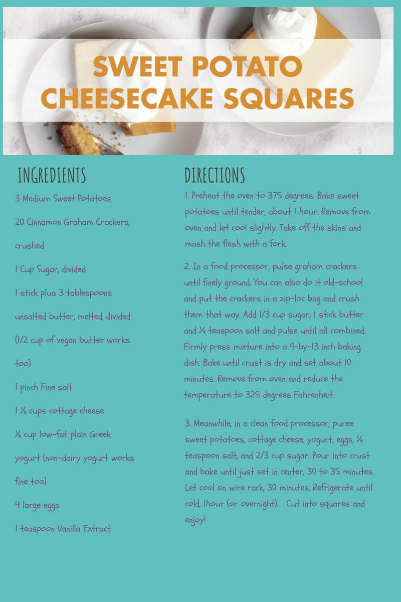 Sweet potato cheesecake graphic